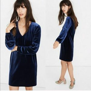 MADEWELL blue velvet dress balloon long sleeve